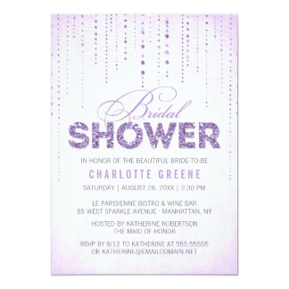 Lavender Glitter Look Bridal Shower Invitation