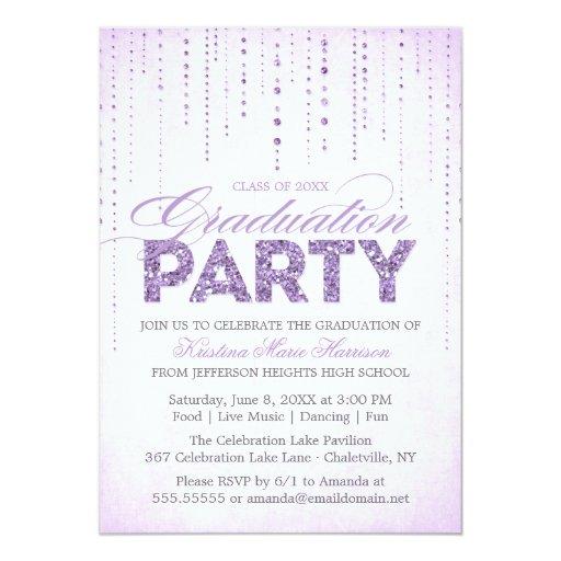 Lavender Glitter Look Graduation Party Invitation