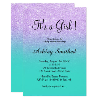 Lavender glitter turquoise ombre girl baby shower card
