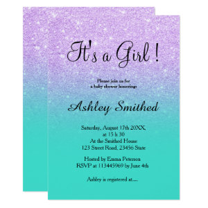 Lavender glitter turquoise ombre girl baby shower Invitation