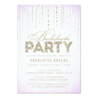 Lavender & Gold Glitter Look Bachelorette Party Card