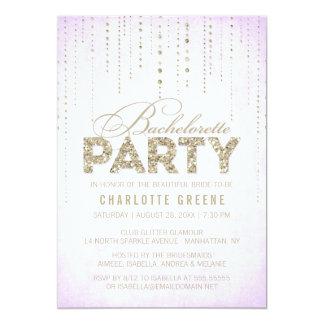 Lavender & Gold Glitter Look Bachelorette Party Card