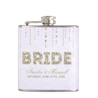 Lavender & Gold Glitter Look Bride Flask Flasks