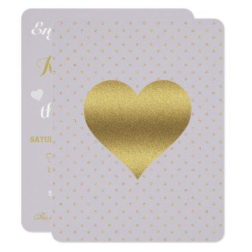 McTiffany Tiffany Aqua Lavender & Gold Heart & Polka Dot Party Invitation