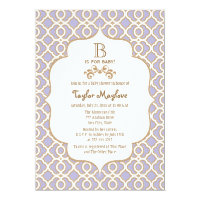 Lavender Gold Moroccan Baby Shower Invitations