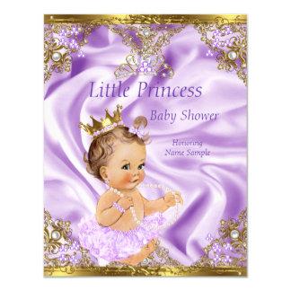 Lavender Gold Princess Baby Shower Brunette Girl Card