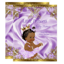 Lavender Gold Princess Baby Shower Ethnic Girl Card
