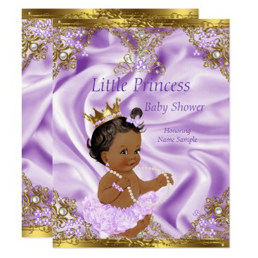 Toddler & Baby themed Lavender Gold Princess Baby Shower Ethnic Girl Card