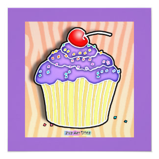 Lavender Grape Frosted CUPCAKE INVITATION