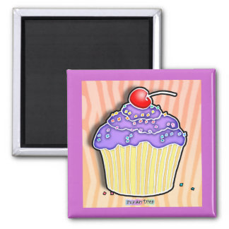 Lavender Grape Frosted CUPCAKE MAGNET