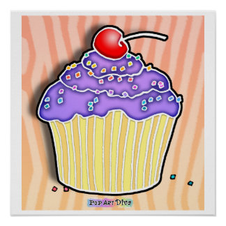 Lavender Grape Frosted Peach CUPCAKE POSTER
