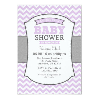 Lavender Gray Chevron Baby Shower Invitation