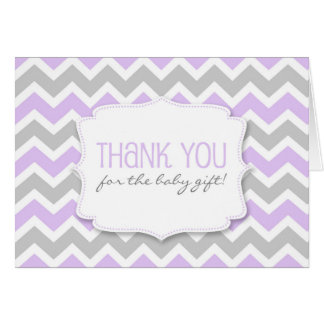 Lavender Gray Chevron Baby Shower thank you notes