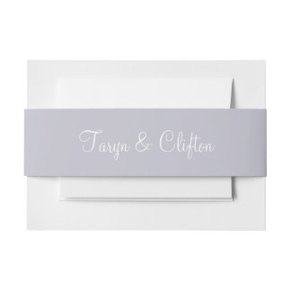 Lavender Gray Contemporary Colorful Invitation Belly Band