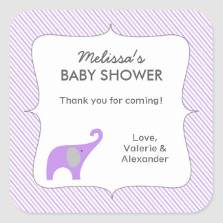 Lavender gray elephant baby shower favor thank you square sticker