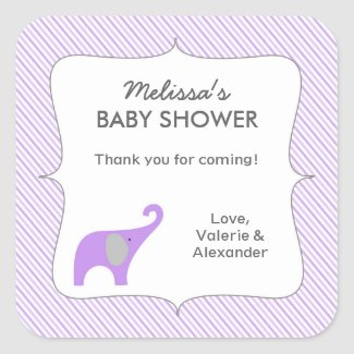 Lavender gray elephant baby shower favor thank you