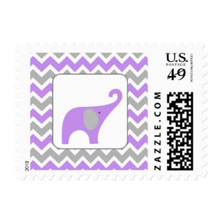 Lavender Gray Elephant Girl Baby Shower Postage