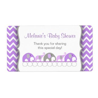 Lavender Gray Elephant Parade Water Bottle Labels