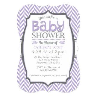 Lavender Gray Herringbone Baby Shower Invitations