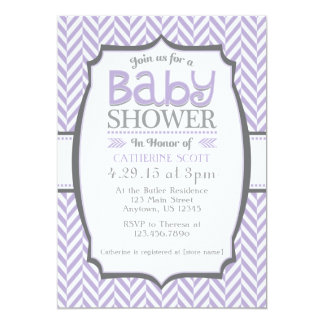"Lavender Gray Herringbone Baby Shower Invitations 5"" X 7"" Invitation Card"