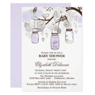 Lavender baby shower invitations zazzle lavender gray mason jars baby shower invitation filmwisefo