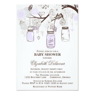 "Lavender & Gray Mason Jars Baby Shower Invitation 5"" X 7"" Invitation Card"