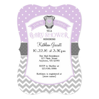 Lavender Gray Polka Dot Chevron Baby Shower Invite