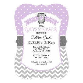 Lavender Gray Polka Dot Chevron Baby Shower Invite