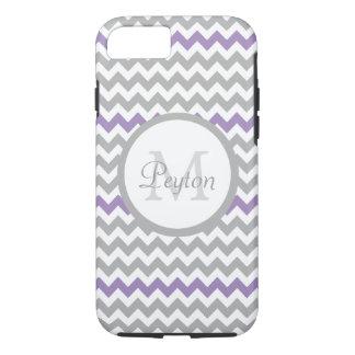 Lavender Gray White Chevron Monogram iPhone 7 Case