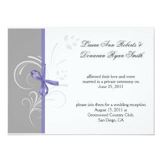 Lavender Gray White Floral Swirls Post Weddi Card