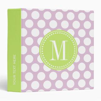 Lavender & Green Big Polka Dots Monogrammed Binder