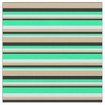 [ Thumbnail: Lavender, Green, Black & Tan Colored Stripes Fabric ]