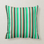[ Thumbnail: Lavender, Green, Black & Tan Colored Stripes Throw Pillow ]