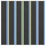 [ Thumbnail: Lavender, Green, Cornflower Blue & Black Lines Fabric ]