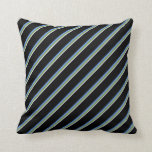 [ Thumbnail: Lavender, Green, Cornflower Blue & Black Lines Throw Pillow ]