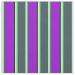 [ Thumbnail: Lavender, Green, Dark Slate Gray, Violet & Black Fabric ]
