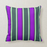 [ Thumbnail: Lavender, Green, Dark Slate Gray, Violet & Black Throw Pillow ]