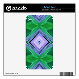 Lavender Green Diamond Shaped Fractal Pattern Decal For The iPhone 4