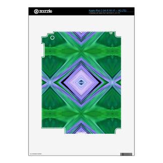 Lavender Green Diamond Shaped Fractal Pattern Skins For iPad 3
