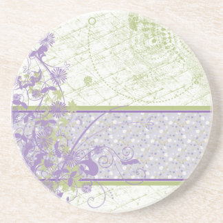 Lavender & Green floral Swirls Coasters