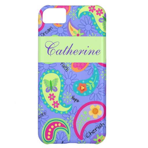 Lavender Green Modern Paisley Graphic Pattern iPhone 5C Cover