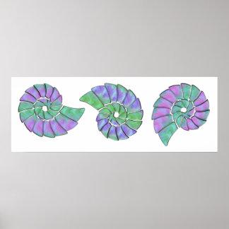 Lavender & Green Nautilu Shell Trio Poster