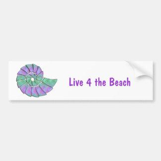 Lavender & Green Nautilus Shell Bumper Sticker