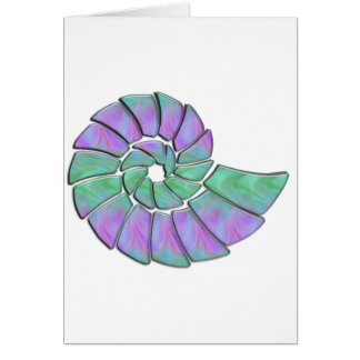 Lavender Green Nautilus Shell Greeting Card