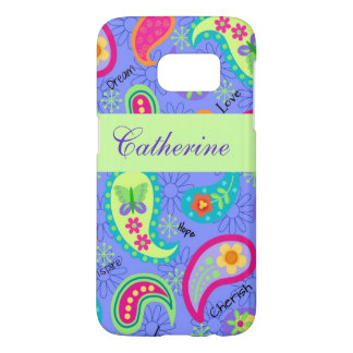 Lavender Green Paisley Pattern Name Personalized Samsung Galaxy S7 Case