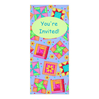 Lavender Green Patchwork Quilt Block Art 4x9.25 Paper Invitation Card
