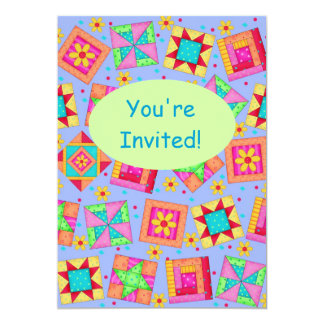 Lavender Green Patchwork Quilt Block Art 5x7 Paper Invitation Card