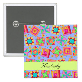 Lavender Green Patchwork Quilt Blocks Name Badge 2 Inch Square Button
