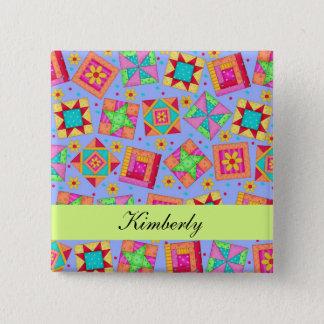 Lavender Green Patchwork Quilt Blocks Name Badge Button