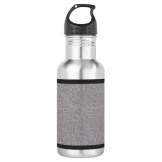 Lavender Grey Embossed Leaf Vines Water Bottle